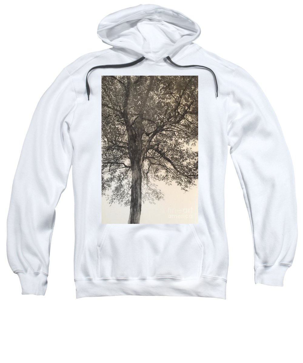 Tree Sweatshirt featuring the drawing Portrait Of My Mother, 2018 by Angus Hampel