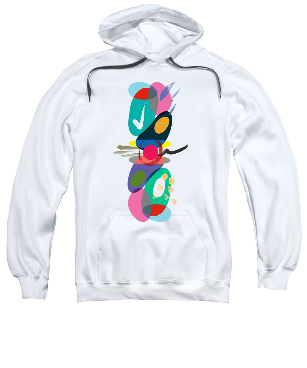 Overlapping Sweatshirt featuring the pyrography Positive Colors Building by Mark Ashkenazi