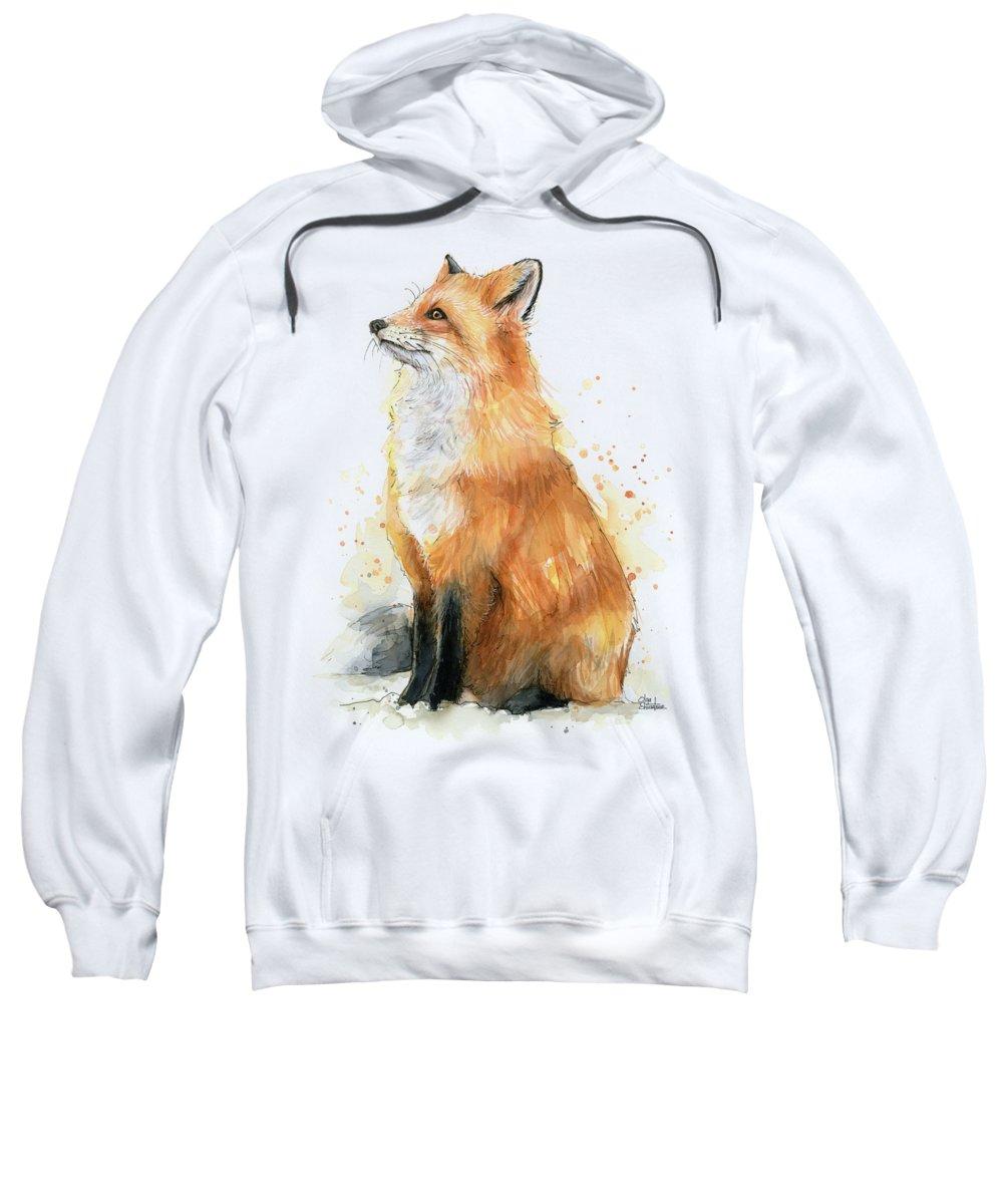 Watercolor Fox Sweatshirt featuring the painting Red Fox Watercolor Pattern by Olga Shvartsur