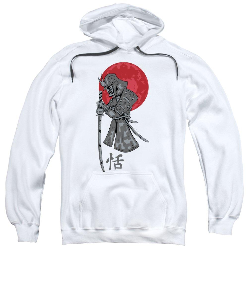 Japanese Sweatshirt featuring the digital art Red Sun Samurai by Passion Loft