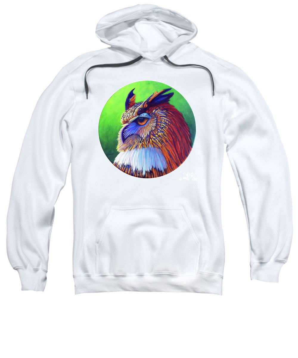 Owl Sweatshirt featuring the painting Regal Gaze by Brian Commerford