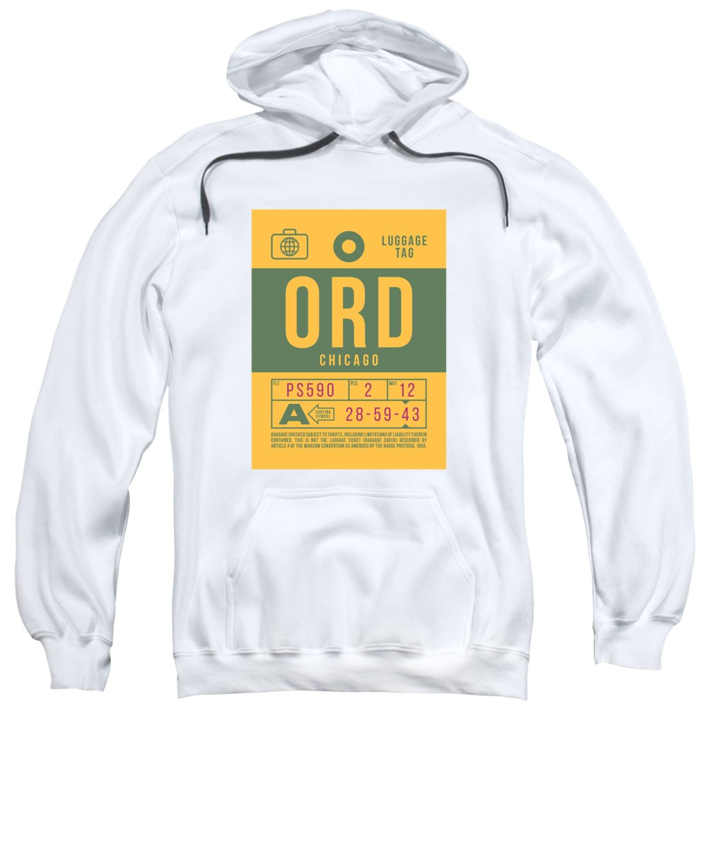 Airline Sweatshirt featuring the digital art Retro Airline Luggage Tag 2.0 - Ord Chicago O'hare Airport United States by Ivan Krpan