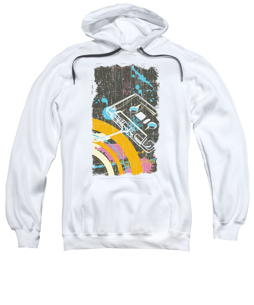 Dj Sweatshirt featuring the digital art Retro Vintage Classic Cassette by Passion Loft