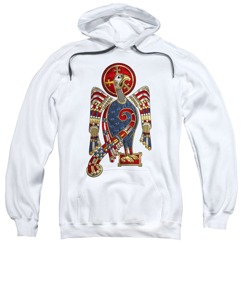 'celtic Treasures' Collection By Serge Averbukh Sweatshirt featuring the digital art Sacred Celtic Eagle Over White Leather by Serge Averbukh