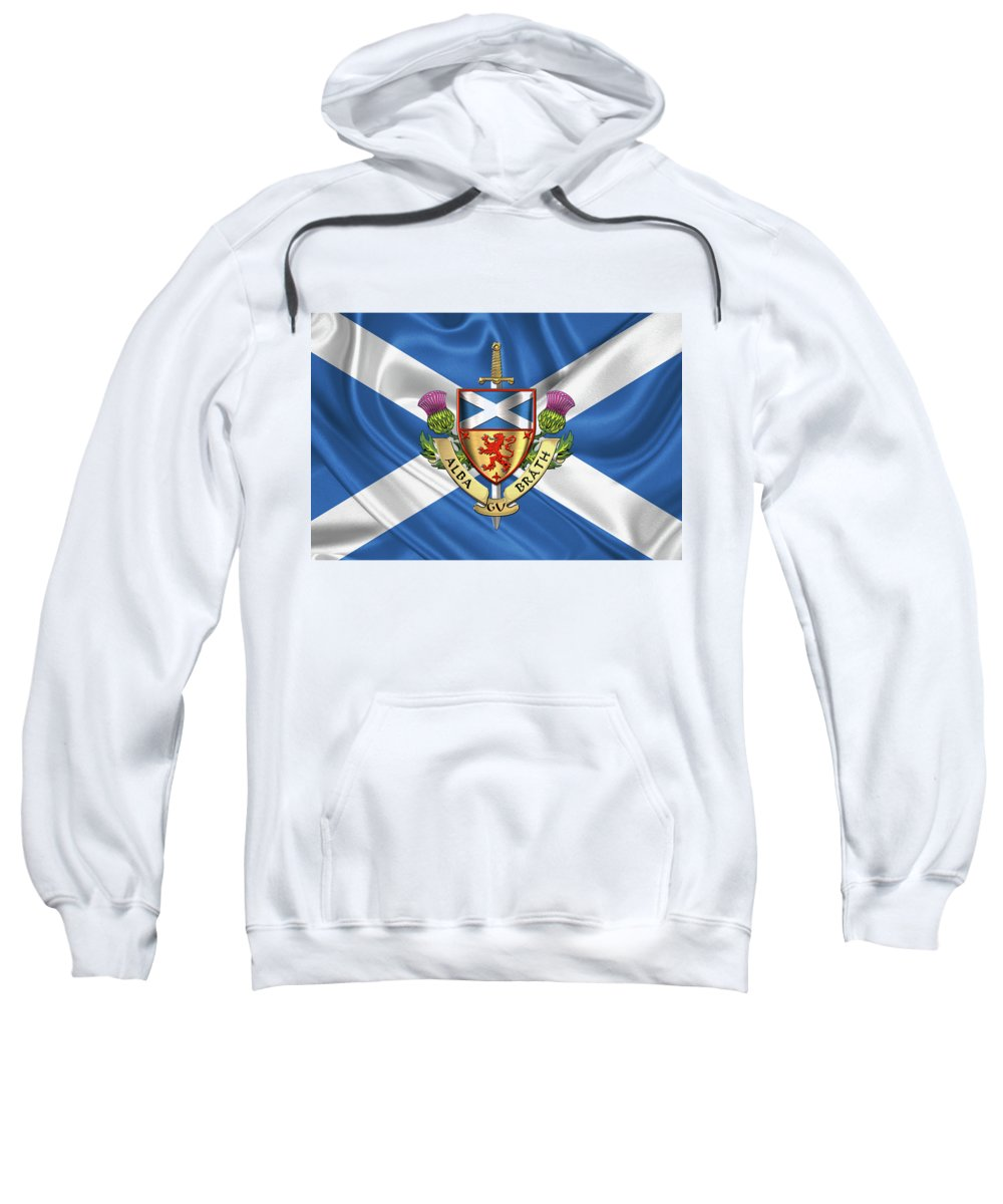"""world Heraldry"" Collection Serge Averbukh Sweatshirt featuring the digital art Scotland Forever - Alba Gu Brath - Symbols Of Scotland Over Flag Of Scotland by Serge Averbukh"