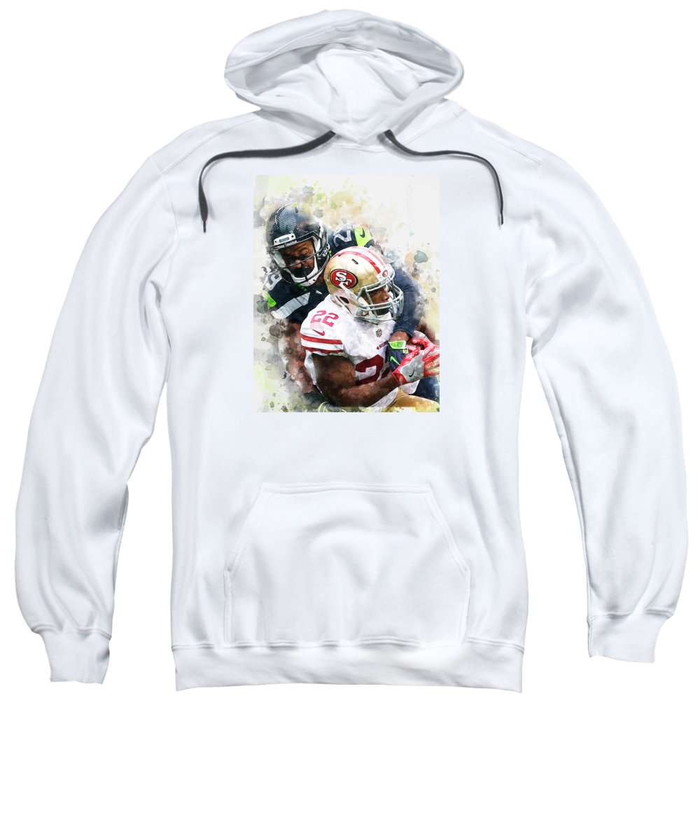 Seattle Seahawks Sweatshirt featuring the digital art Seattle Seahawks Against San Francisco 49ers by Nadezhda Zhuravleva