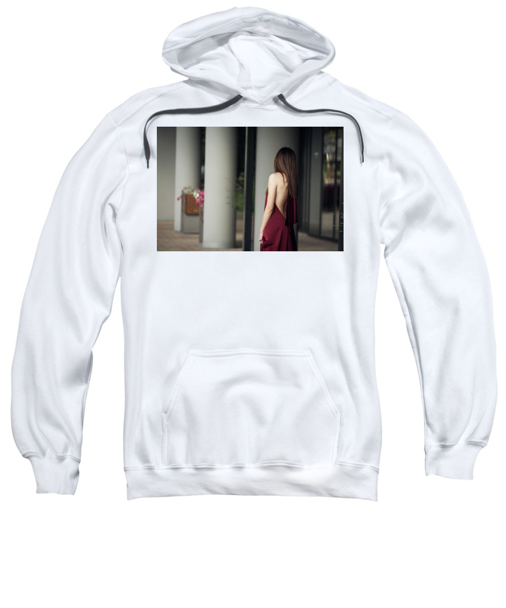 Fashion Sweatshirt featuring the pyrography Sensual Lady by Bekir Lukac