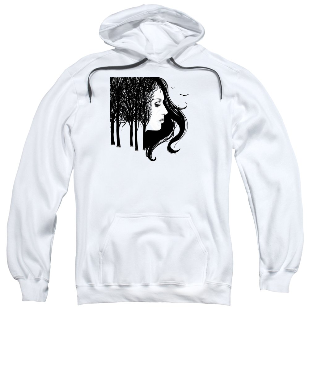 Painting Sweatshirt featuring the painting She Whispers Through The Trees by Little Bunny Sunshine