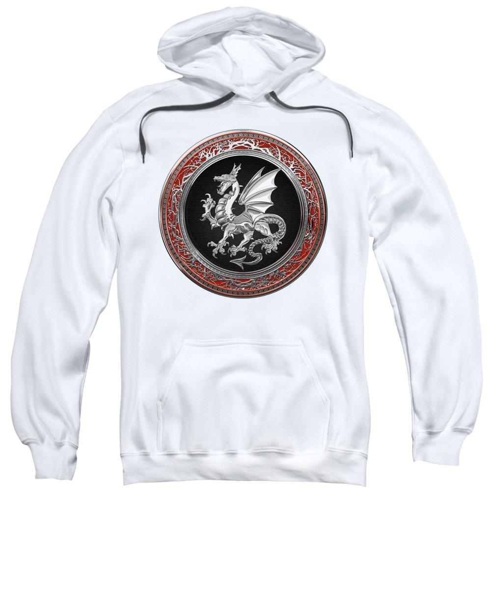 'dragons' Collection By Serge Averbukh Sweatshirt featuring the digital art Silver Winged Norse Dragon - Icelandic Viking Landvaettir On Black And Silver Medallion Over White L by Serge Averbukh