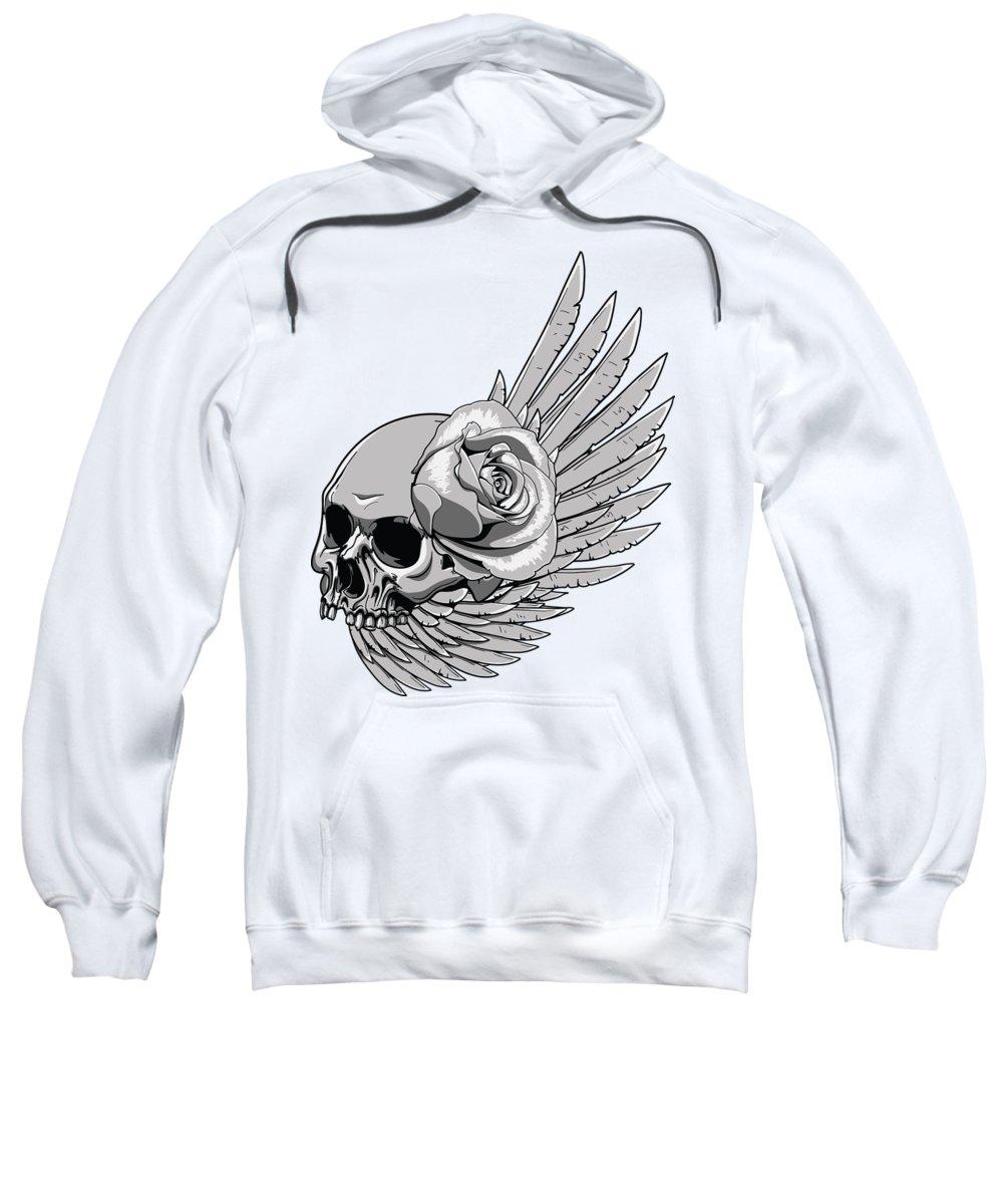 Skull Sweatshirt featuring the digital art Skull Wing Rose by Passion Loft