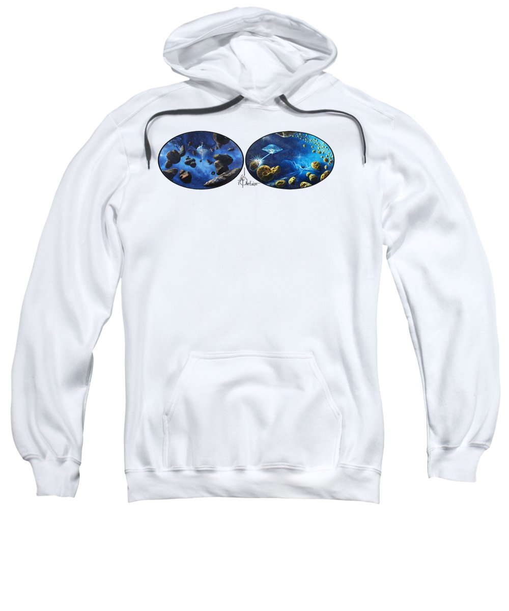 Paintings Sweatshirt featuring the painting Spacestation fifty two by Murphy Elliott