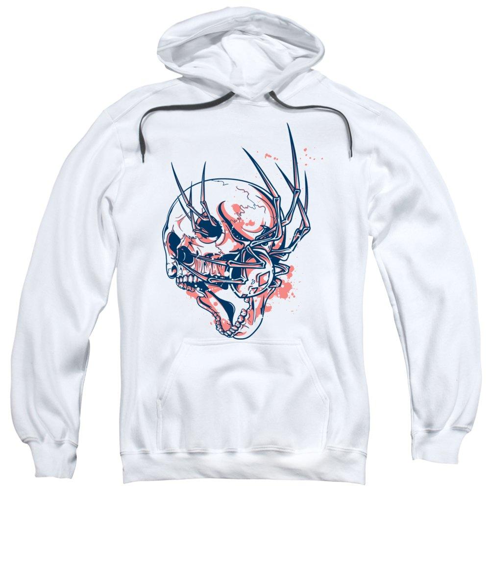 Halloween Sweatshirt featuring the digital art Spider Crawling Skull by Passion Loft