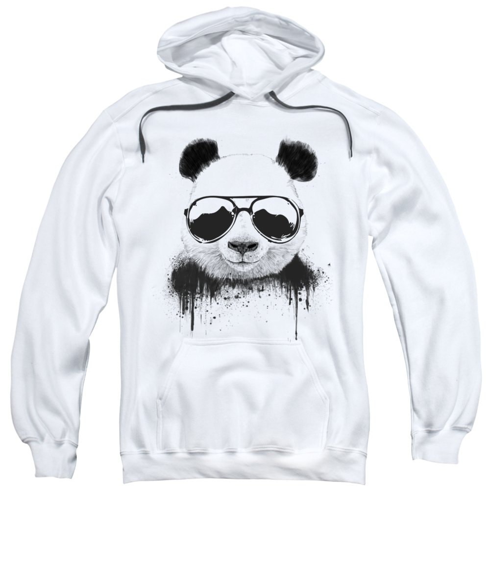 Panda Sweatshirt featuring the mixed media Stay Cool by Balazs Solti