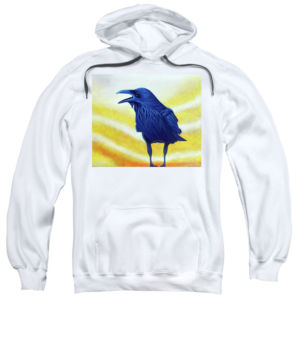 Raven Sweatshirt featuring the painting The Conversation by Brian Commerford