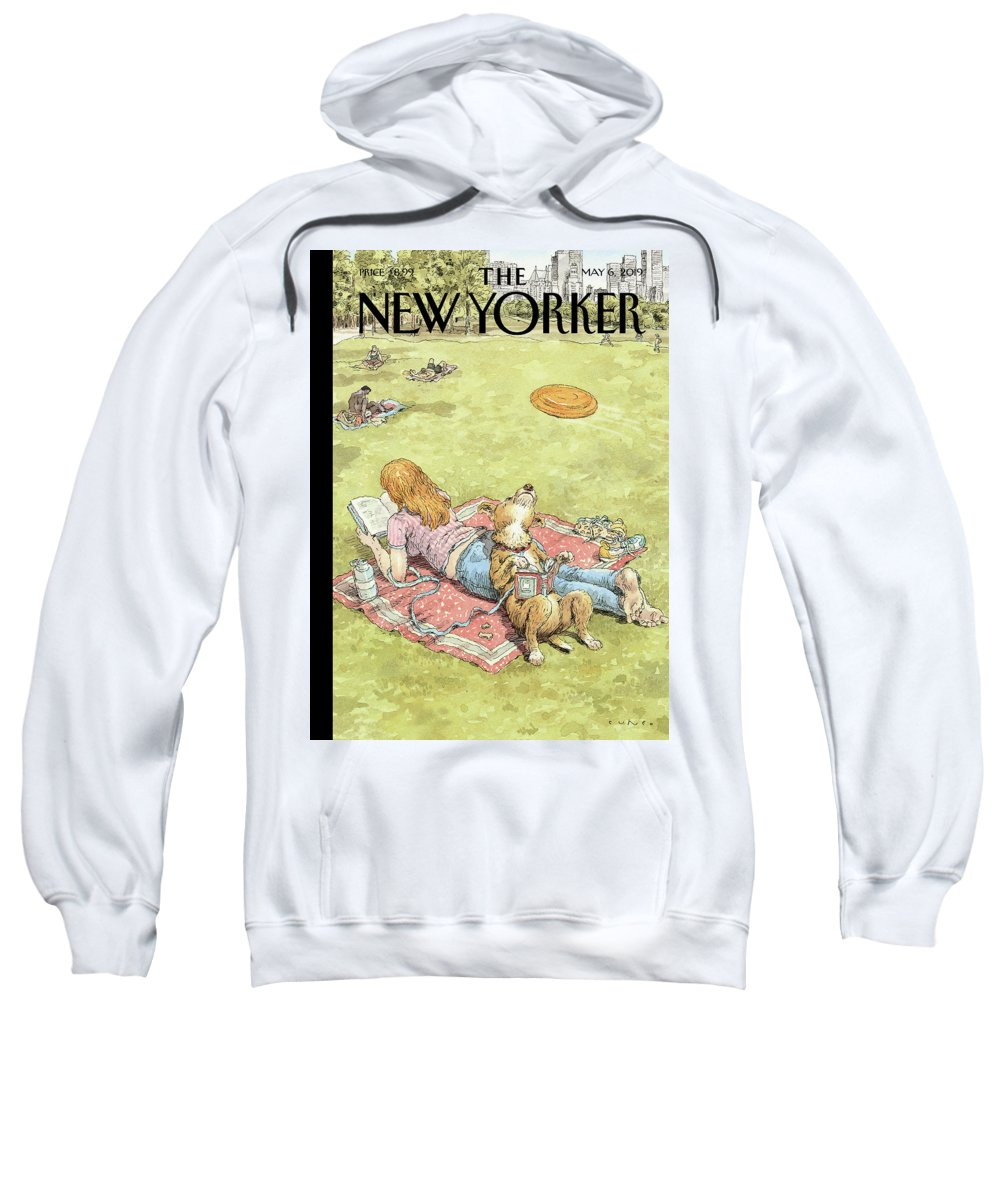 To Fetch Or Not To Fetch Sweatshirt featuring the painting To Fetch or Not to Fetch by John Cuneo