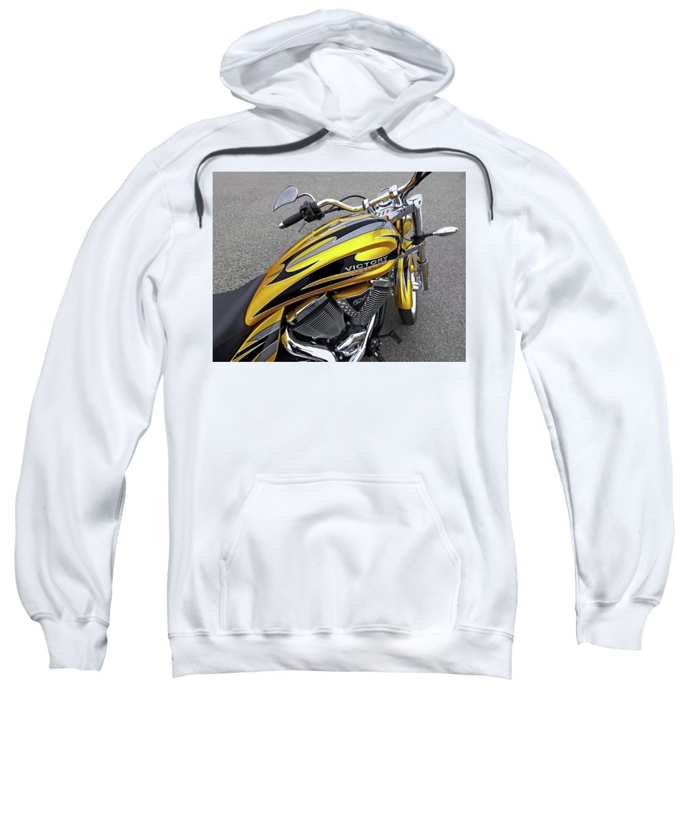 Motorcycle Sweatshirt featuring the photograph Victory Motorcycle 106 Gas Tank And V-twin Engine by Gill Billington