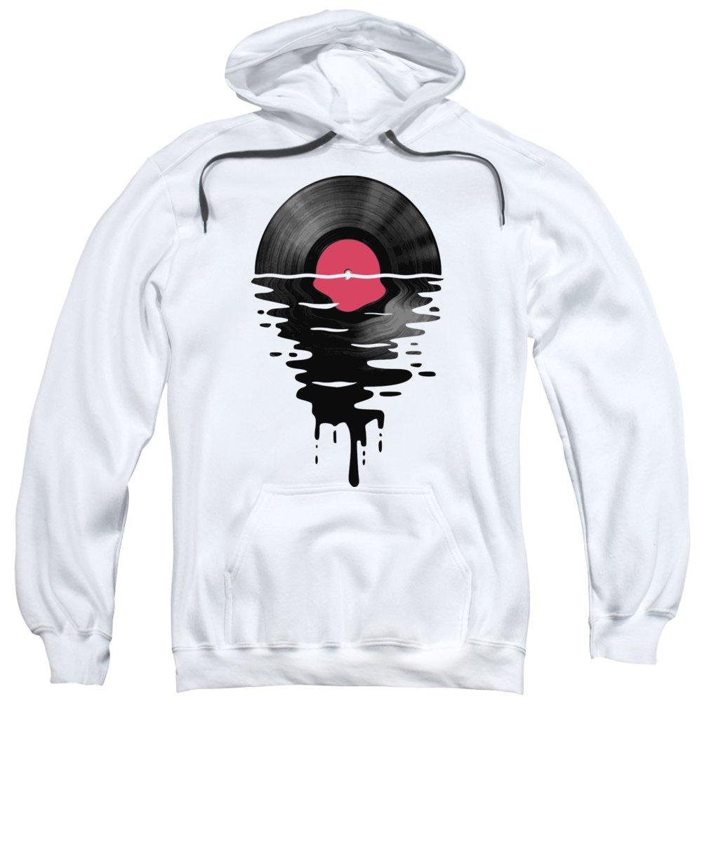 Lp Sweatshirt featuring the digital art Vinyl LP Record Sunset by Filip Schpindel