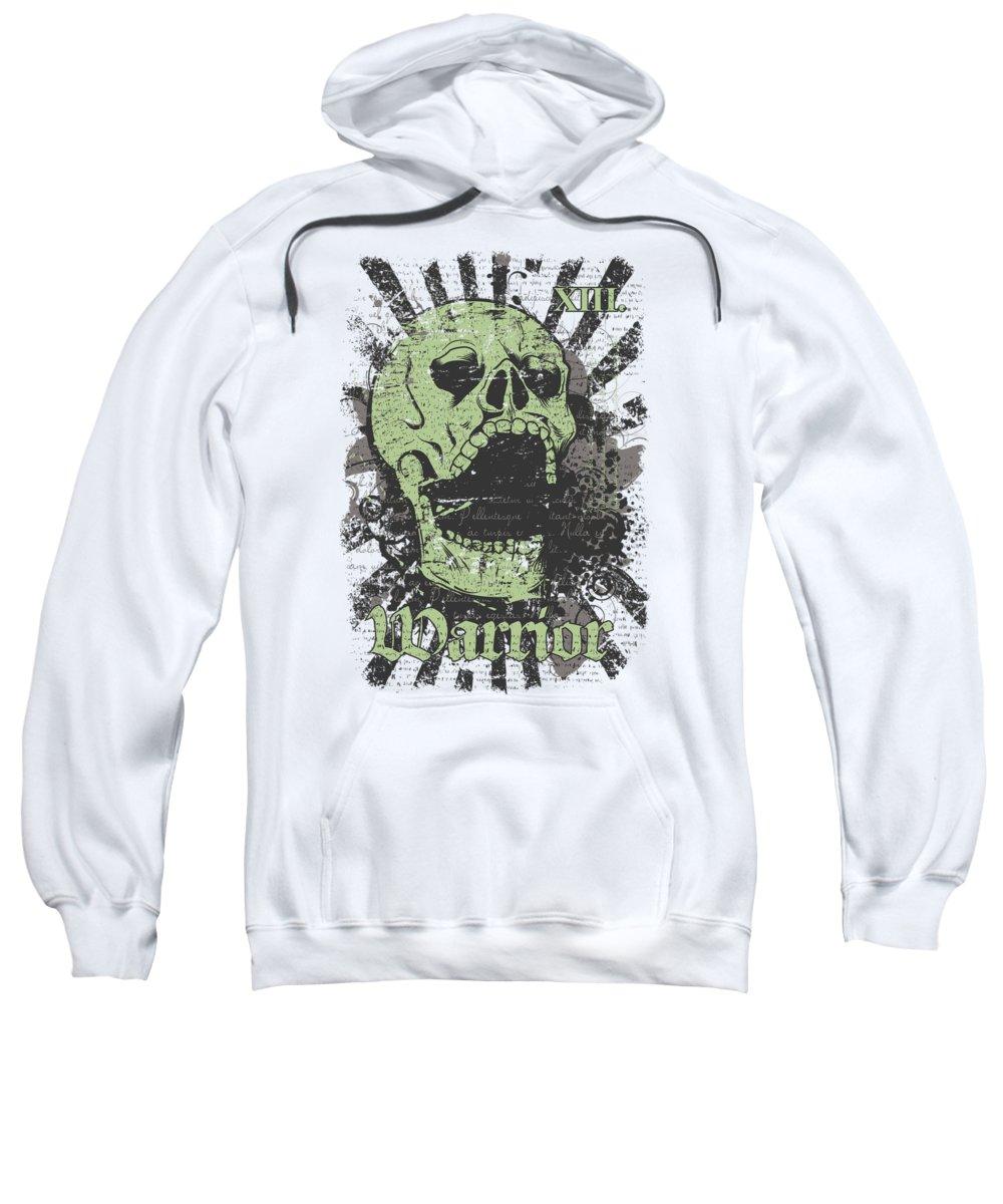Skull Sweatshirt featuring the digital art Warrior Skull And Black Rays by Passion Loft