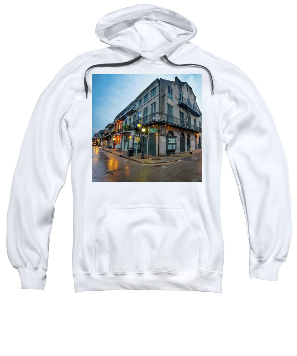 New Orleans Bourbon Street Architecture Street Sweatshirt featuring the photograph Washing Well Laundryteria by Kirk Cypel