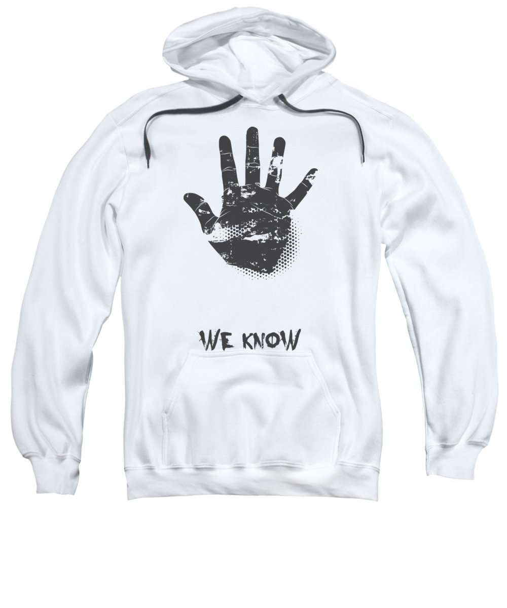 Halloween Sweatshirt featuring the digital art We Know Grungy Palm by Passion Loft