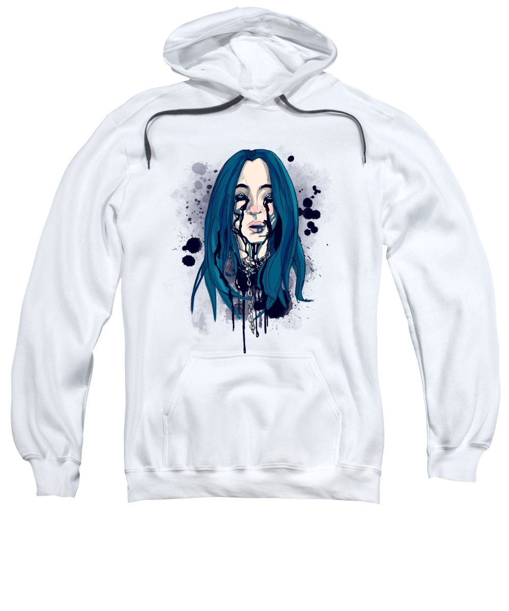 Music Sweatshirt featuring the drawing When the Partys Over by Ludwig Van Bacon