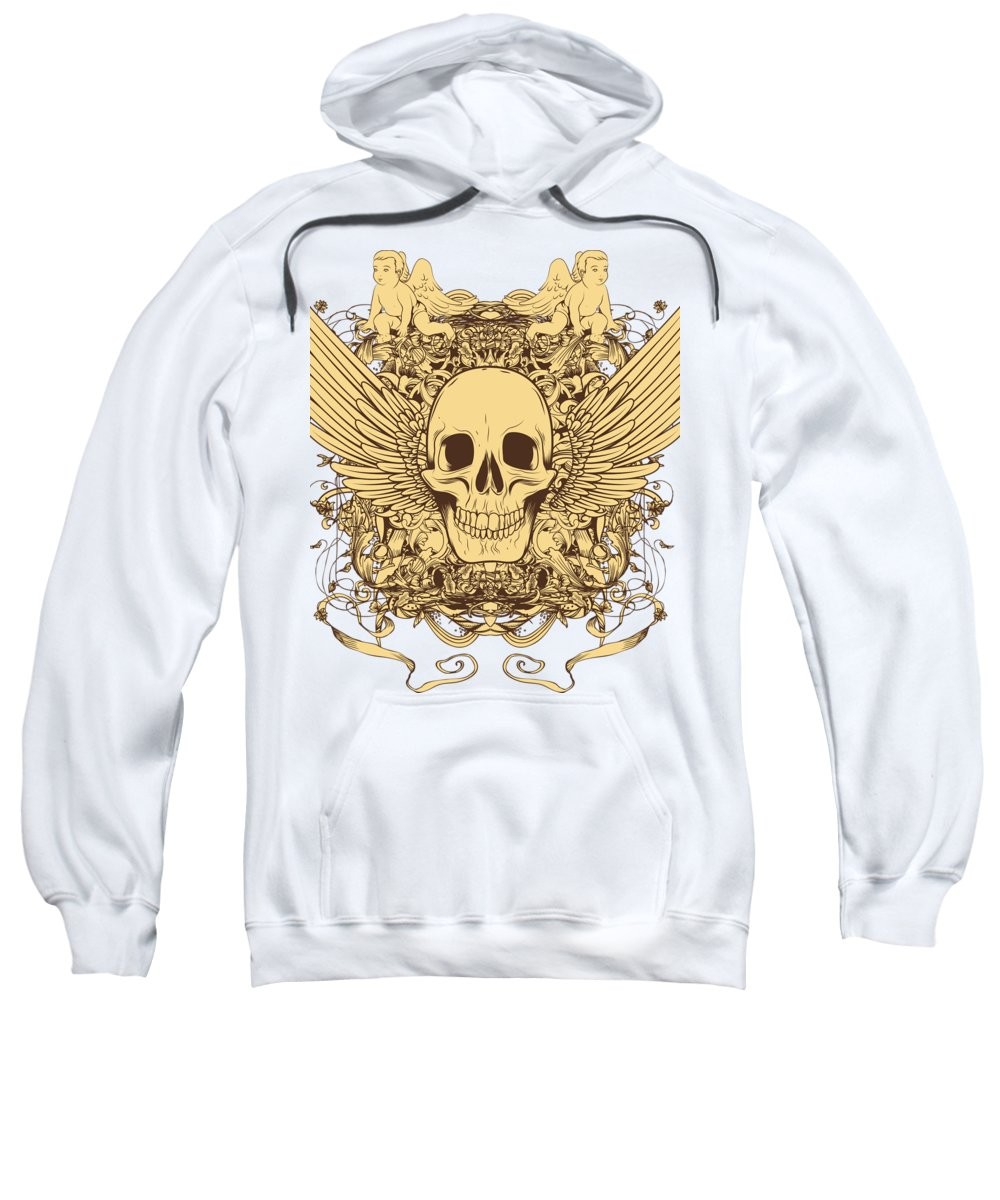 Halloween Sweatshirt featuring the digital art Winged Skull by Passion Loft