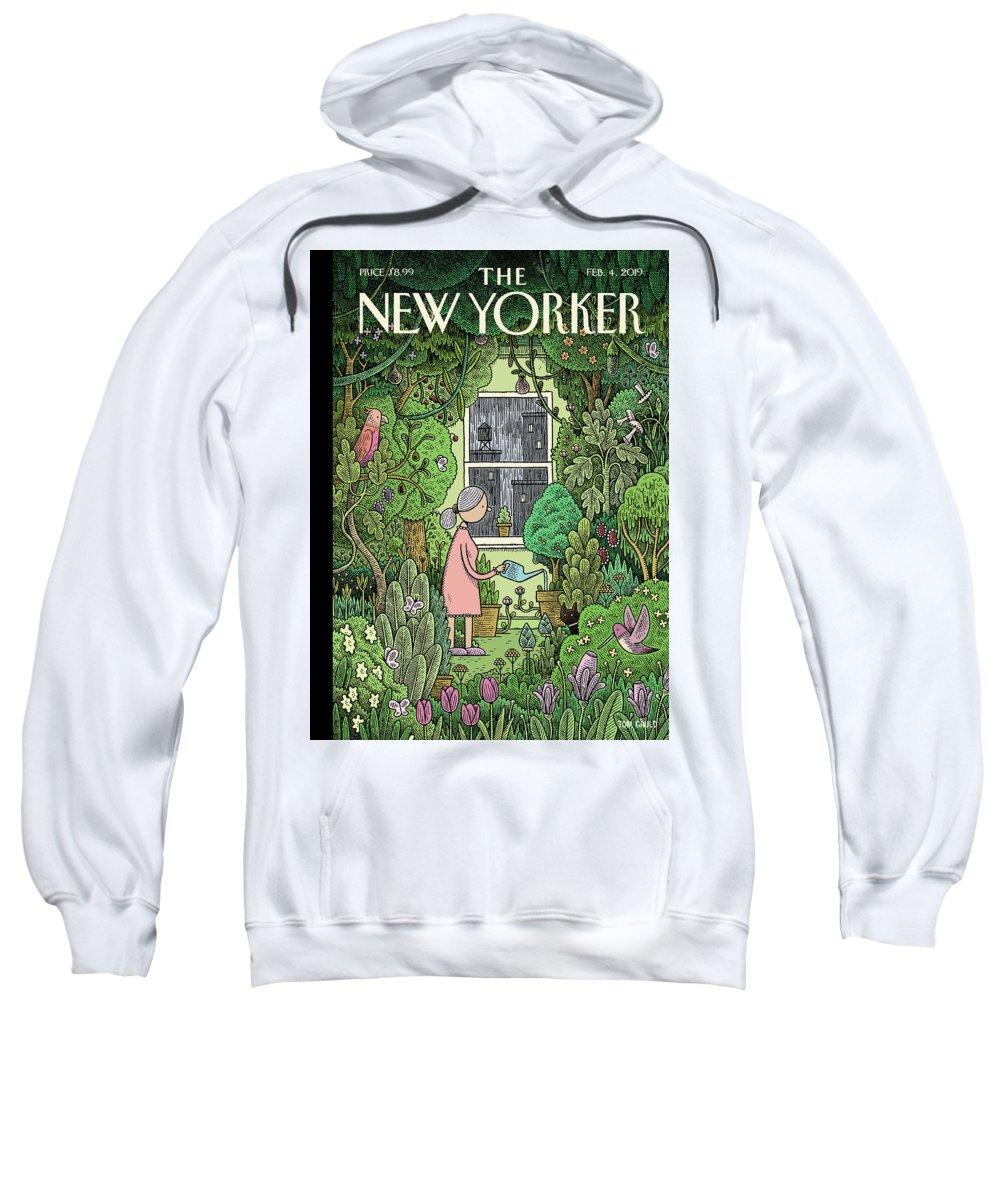 Winter Garden Sweatshirt featuring the painting Winter Garden by Tom Gauld