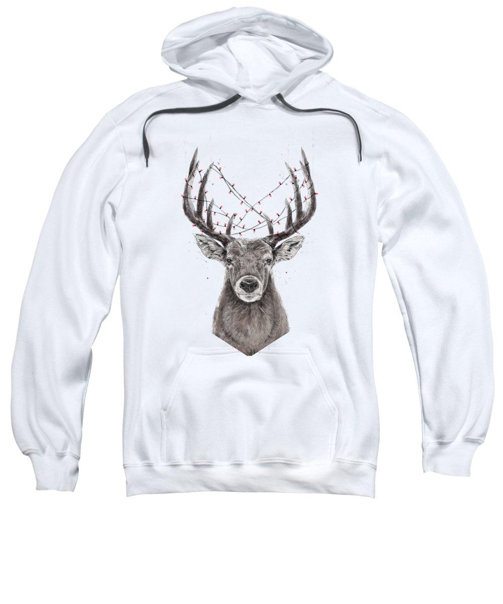 Deer Sweatshirt featuring the drawing Xmas Deer by Balazs Solti