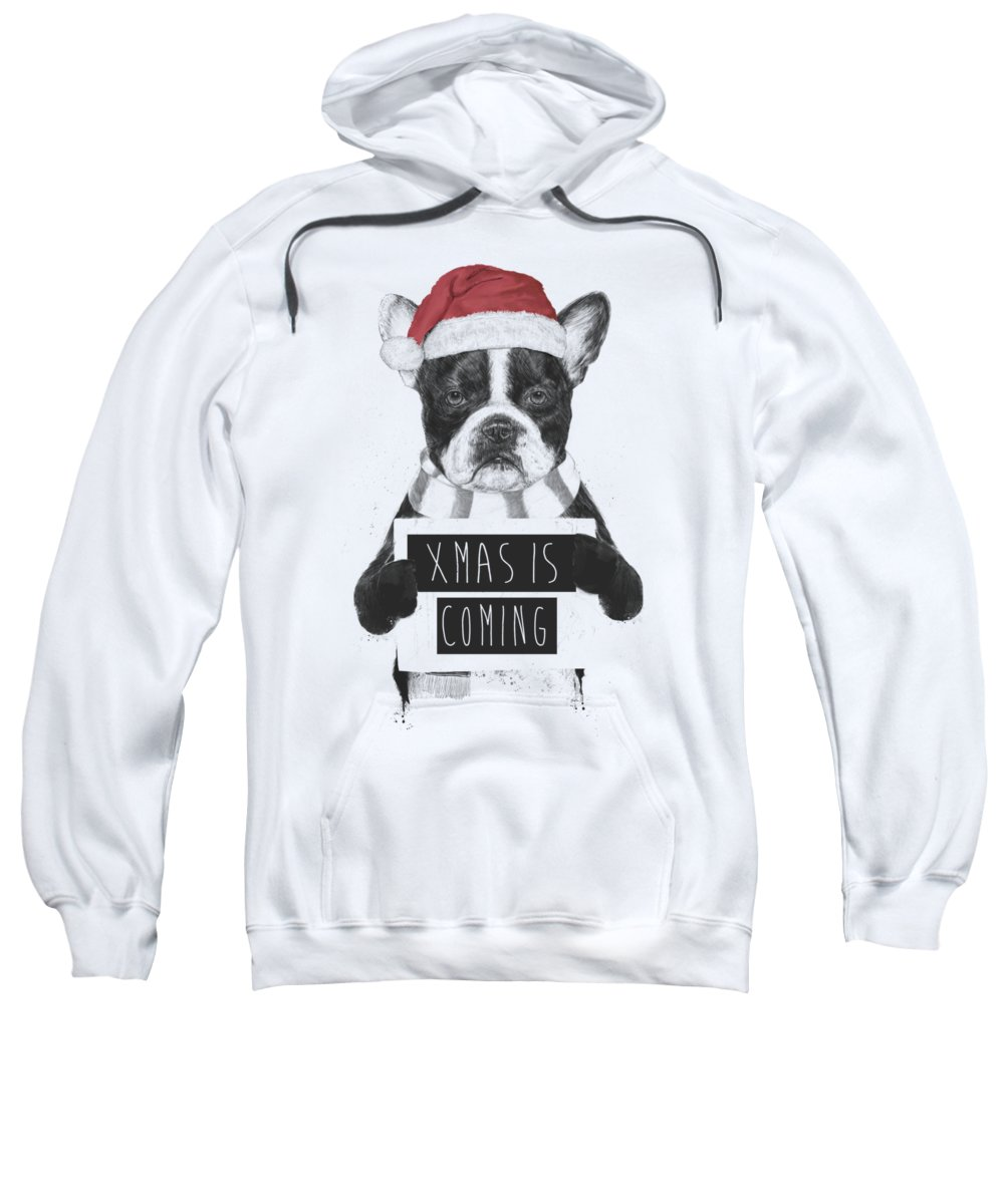 Bulldog Sweatshirt featuring the mixed media Xmas Is Coming by Balazs Solti