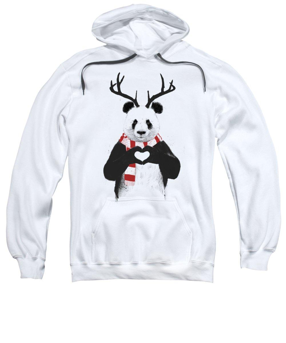 Panda Sweatshirt featuring the drawing Xmas panda by Balazs Solti