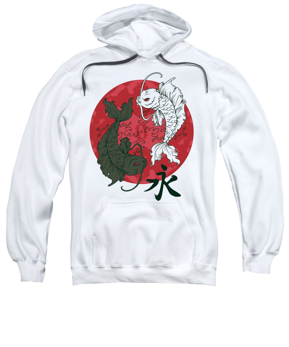 Japanese Sweatshirt featuring the digital art Yin Yang Koi Fish by Passion Loft