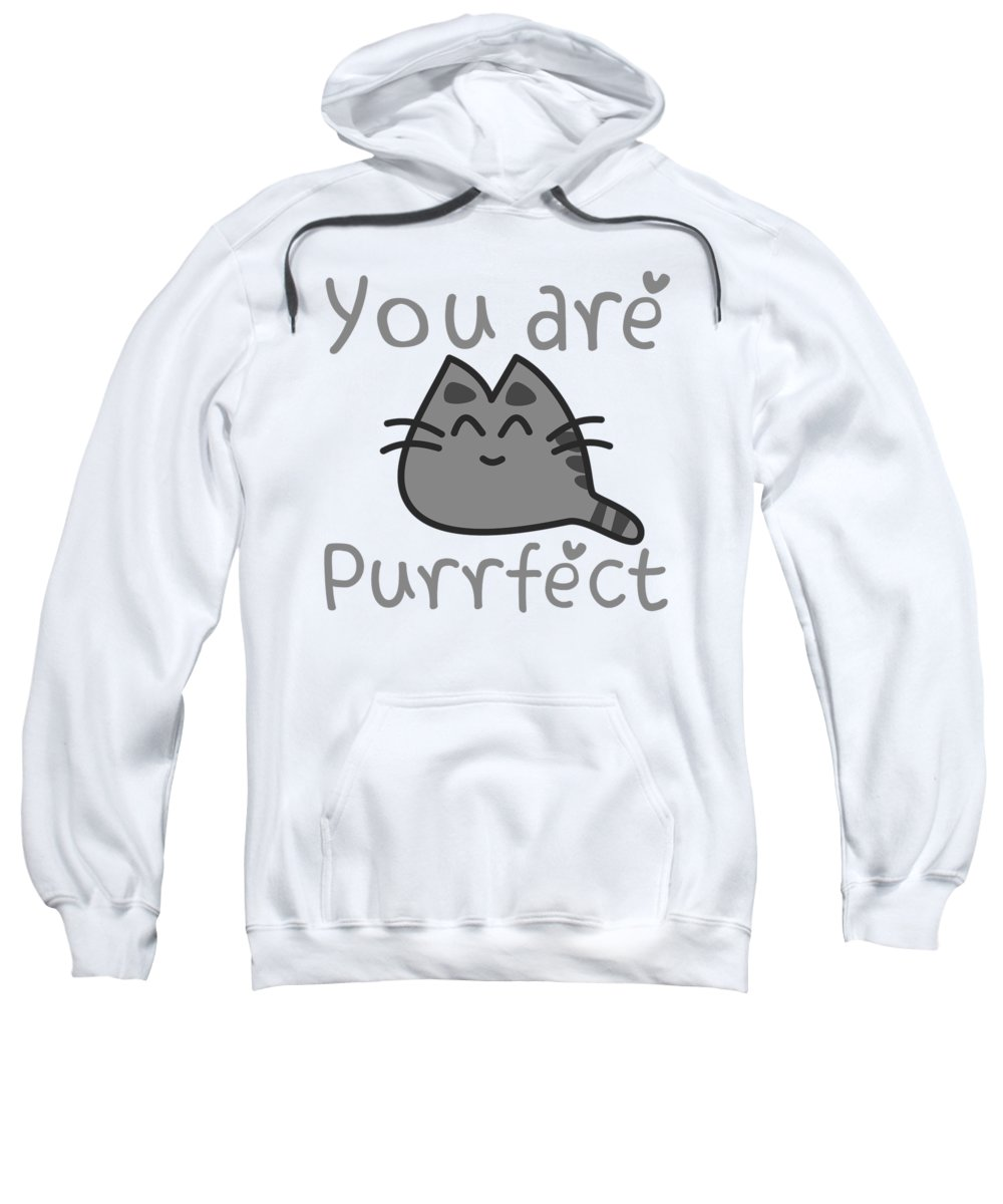 Cat-puns Sweatshirt featuring the digital art You Are Purrfect by Passion Loft