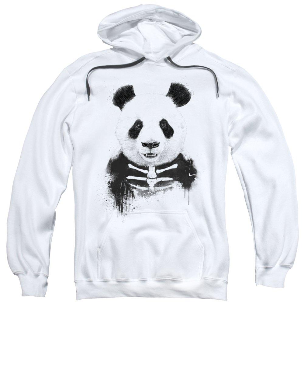 Panda Sweatshirt featuring the mixed media Zombie panda by Balazs Solti