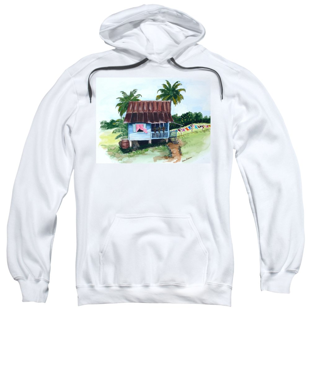 Landscape Painting Caribbean House Painting Blue House Painting Trinidad And Tobago Painting Greeting Card Painting Island Painting Tropical House Painting Blue Painting Sweatshirt featuring the painting Little Blue House by Karin Dawn Kelshall- Best