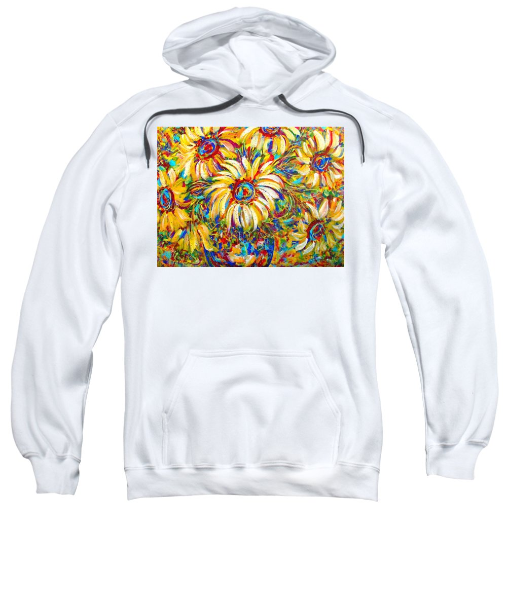 Flowers Sweatshirt featuring the painting Sunflower Burst by Natalie Holland