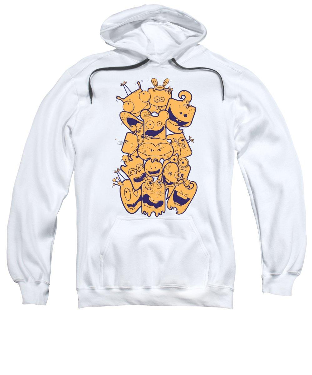 Halloween Sweatshirt featuring the digital art Cute Monsters by Passion Loft
