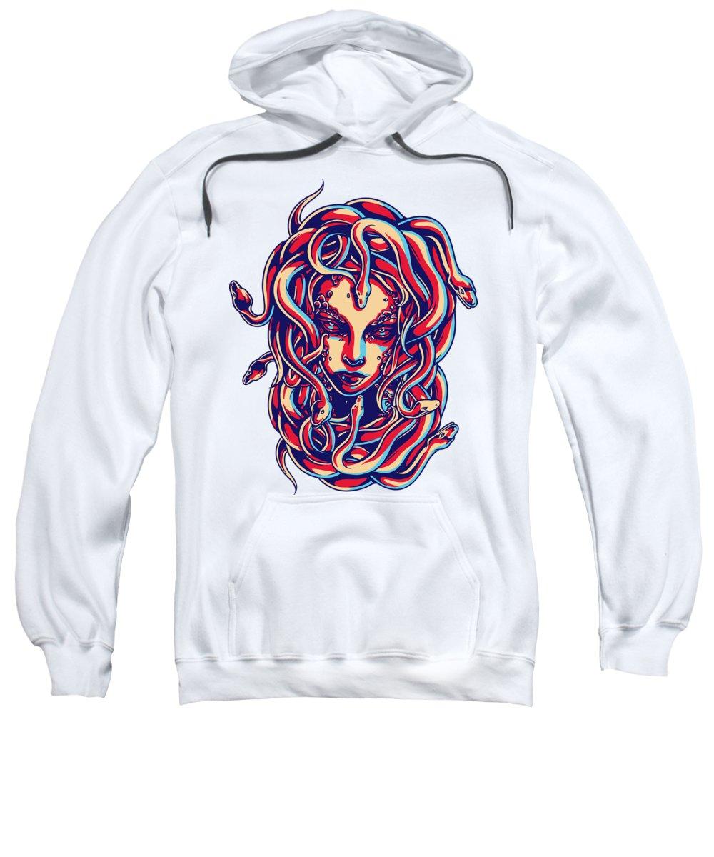 Greek Mythology Sweatshirt featuring the digital art Medusa by Passion Loft