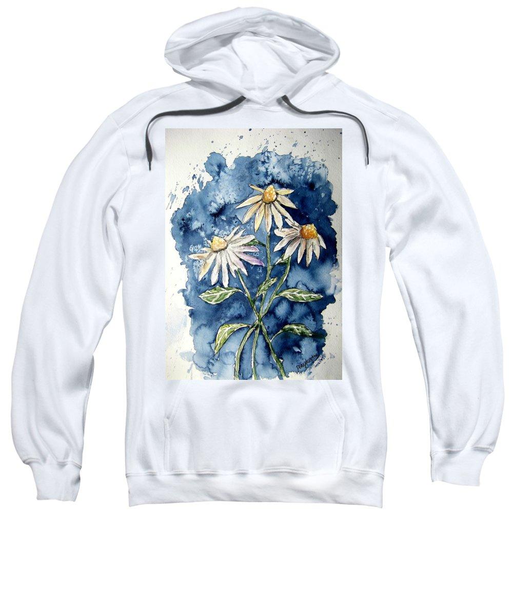 Daisy Sweatshirt featuring the painting 3 Daisies Flower Art by Derek Mccrea