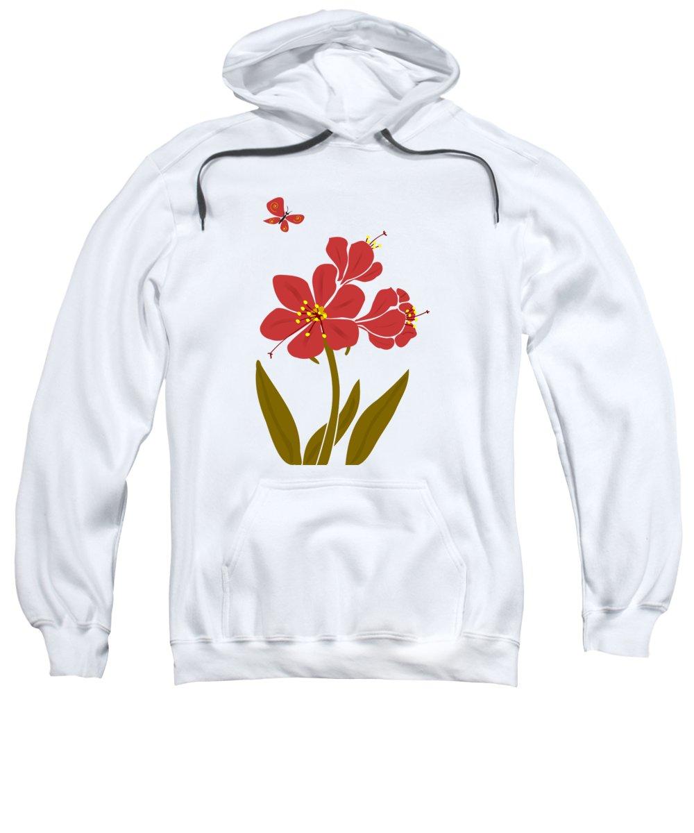 Plant Sweatshirt featuring the digital art Amaryllis Flowers by Anastasiya Malakhova