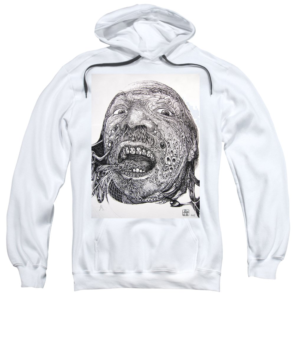 Surrealist Sweatshirt featuring the drawing Antipods Screamer by Otto Rapp