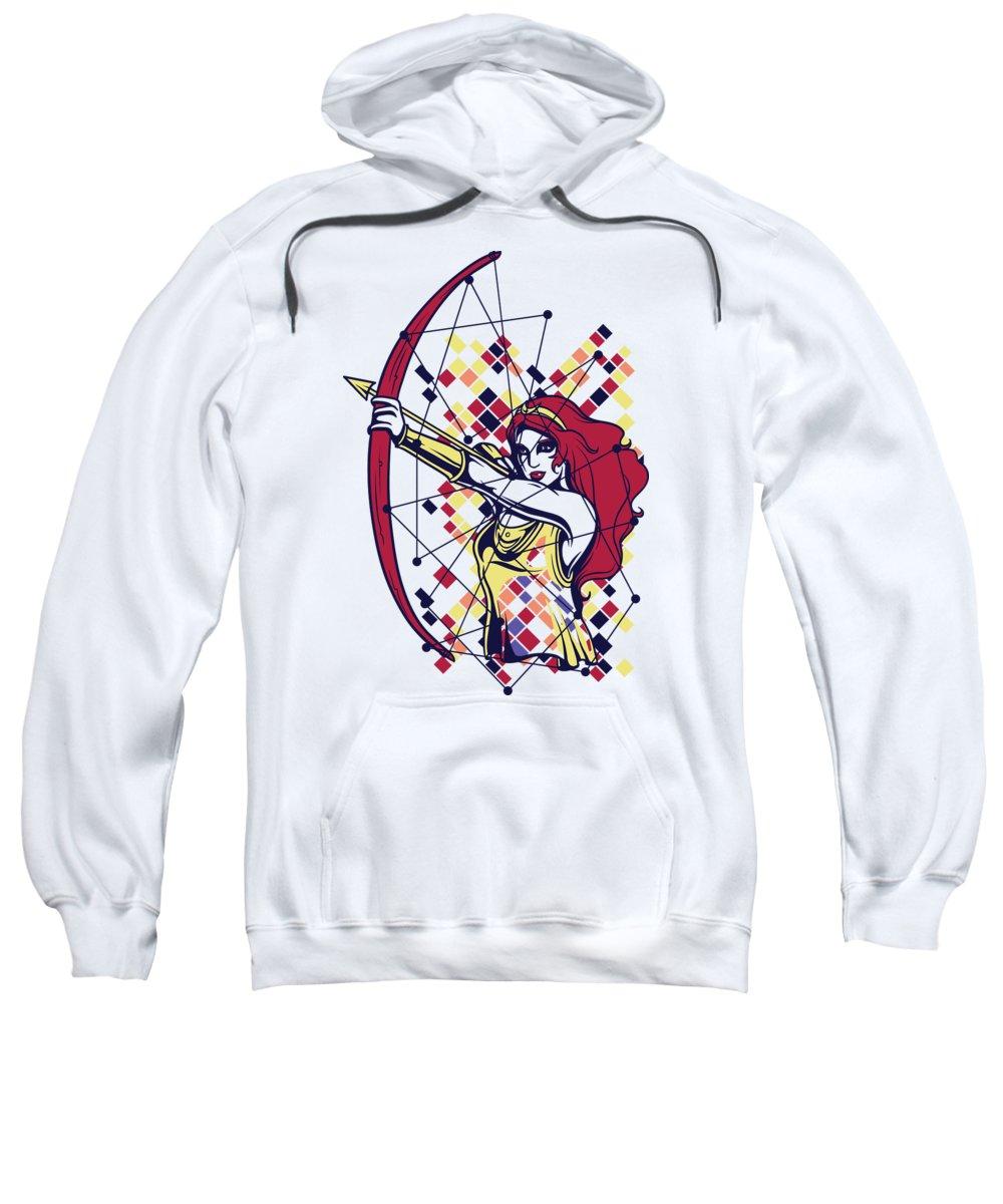 Greek Mythology Sweatshirt featuring the digital art Artemis Greek Olympian Goddess Archery by Jacob Zelazny