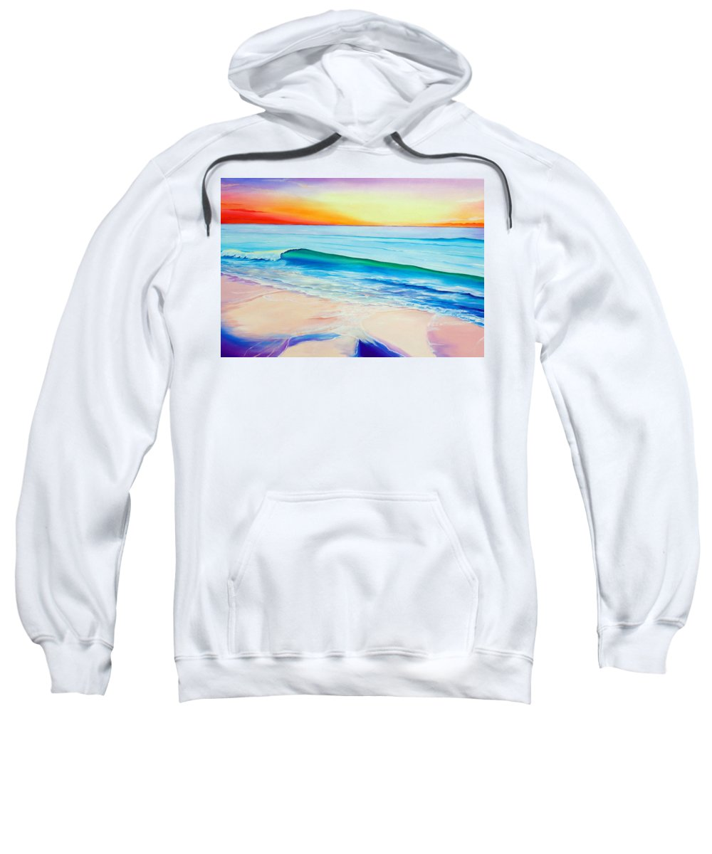 Sunset Painting Sea Painting Beach Painting Sunset Painting  Waves Painting Beach Painting Seaside Painting Seagulls Painting Sweatshirt featuring the painting At the end of a perfect day by Karin Dawn Kelshall- Best