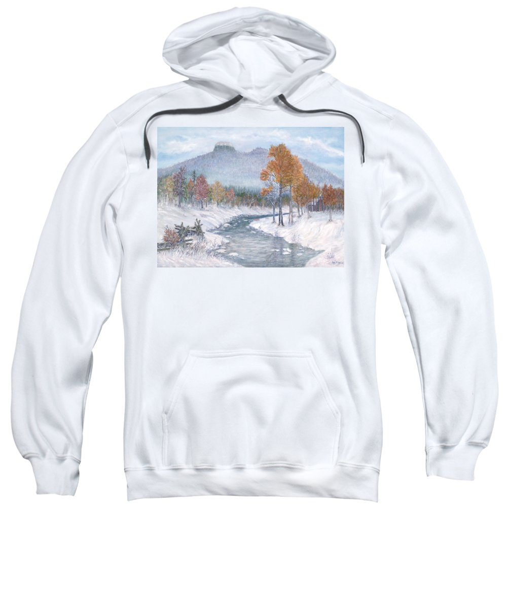 Snow Sweatshirt featuring the painting Autumn Snow by Ben Kiger