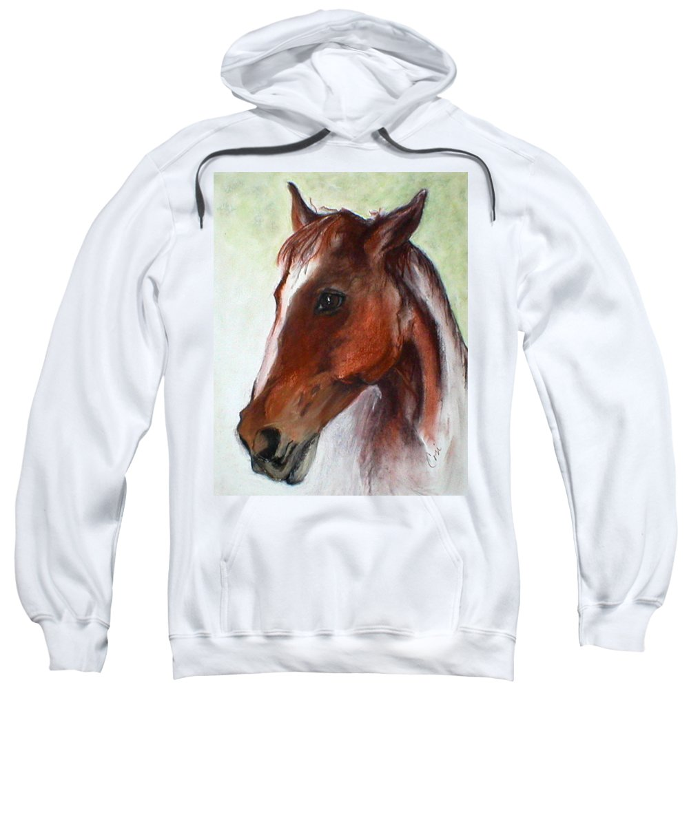 Horse Sweatshirt featuring the drawing Becky by Cori Solomon