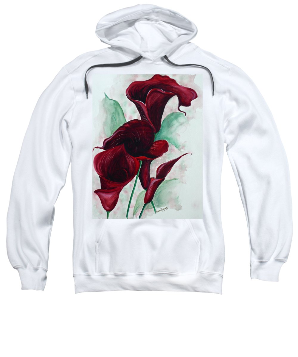 Flower Painting Floral Painting Botanical Painting Tropical Painting Caribbean Painting Calla Painting Red Lily Painting Deep Red Calla Lilies Original Watercolor Painting Sweatshirt featuring the painting Black Callas by Karin Dawn Kelshall- Best