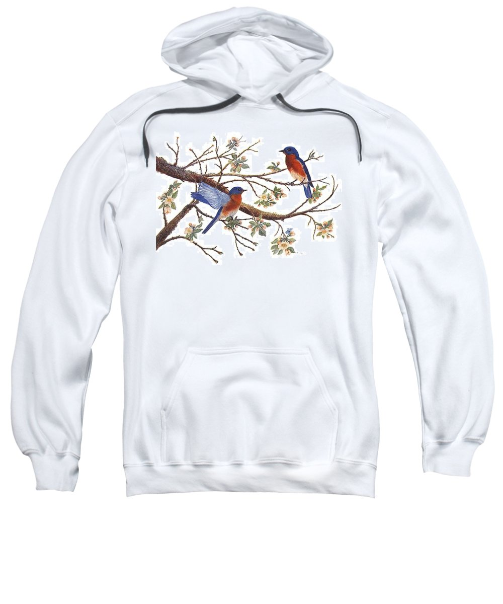 Bluebirds Sweatshirt featuring the painting Bluebirds And Apple Blossoms by Ben Kiger