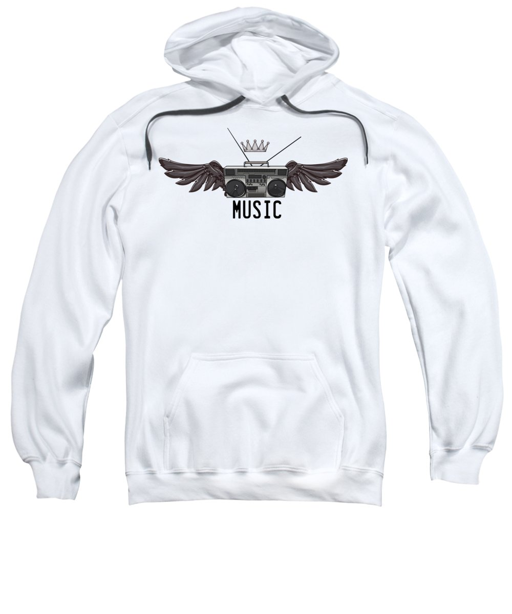 Halloween Sweatshirt featuring the digital art Boombox Music by Passion Loft