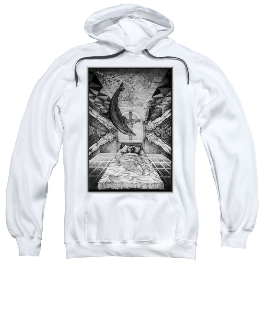 Surrealism Sweatshirt featuring the drawing Botticellis Dream by Otto Rapp