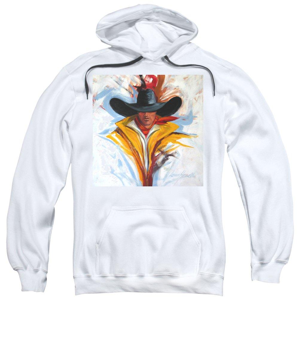 Horses Art Sweatshirt featuring the painting Brushstroke Cowboy by Lance Headlee