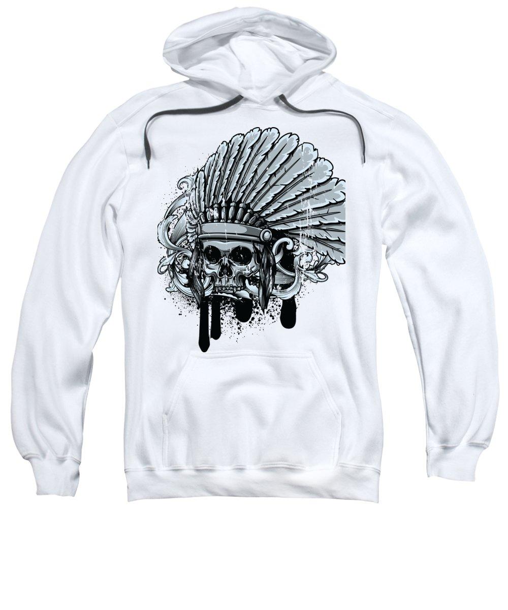 Skull Sweatshirt featuring the digital art Chebeya Skull with Headdress by Jacob Zelazny